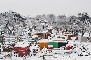 Le chantier du Jardin d'Acclimatation sous la neige